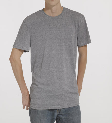 Grey polyester wick-a-way ribbing T-shirt, model is 6-8 and wearing size XTall-Large.