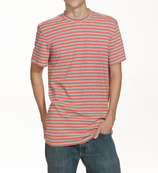 Grey and Red striped cotton T-shirt, model is 6-8 and wearing size XTall-Large.