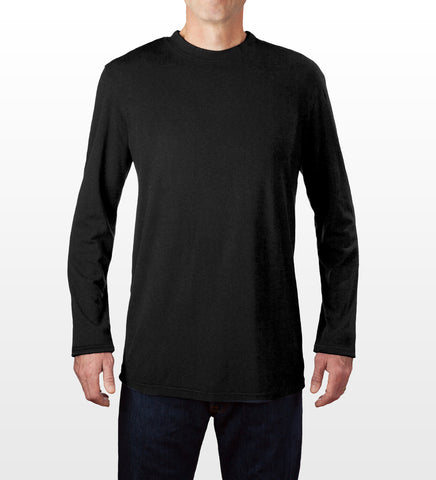 Black bamboo blend long-sleeve T-shirt, model is 6-4 and wearing size Tall-Large.