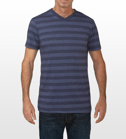 Vintage Indigo Blue striped V-Neck T-Shirt, model is 6-4 and wearing Tall-Large.