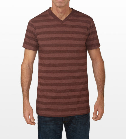 Sienna Brown striped V-Neck T-Shirt, model is 6-4 and wearing size Tall-Large.