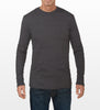 Charcoal Grey Long-Sleeve T-shirt, model is 6-4 and wearing size Tall-Large.