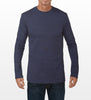 Vintage Indigo Blue Long-Sleeve T-shirt, model is 6-4 and wearing size Tall-Large.