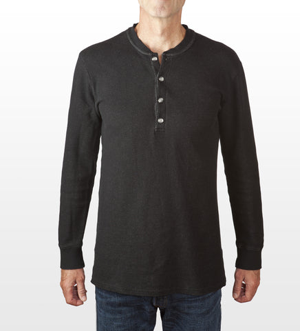 Black melange cotton henley, model is 6-4 and wearing size Tall-Large.