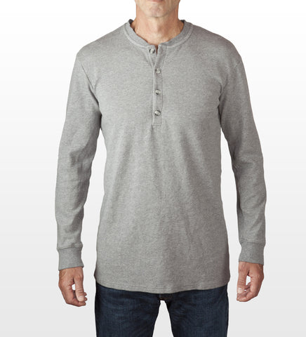 Grey melange cotton henley, model is 6-4 and wearing size Tall-Large.