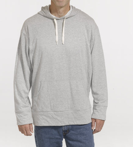Cotton Polyester and Rayon blend pull-over hooded sweatshirt, model is 6-4 and wearing size Tall-Large.