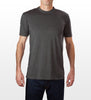 Charcoal cotton/polyester baby jersey slim fit T-shirt, model is 6-4 and wearing size Tall-Large.