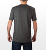 Charcoal cotton/polyester baby jersey slim fit T-shirt rear view, model is 6-4 and wearing size Tall-Large.
