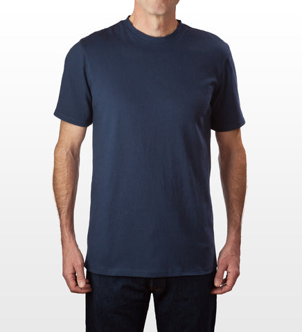 Navy 100% cotton slim fit T-shirt, model is 6-4 and wearing size Tall-Large.