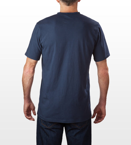 Navy 100% cotton slim fit T-shirt rear view, model is 6-4 and wearing size Tall-Large.
