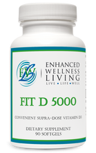 Load image into Gallery viewer, Fit D 5000 contains vitamin D3 (cholecalciferol) in convenient softgels. Vitamin D3 is the bioidentical form of vitamin D synthesized in the body from cholesterol, following activation by the UV rays in sunlight. This form is excellent for maintaining healthy levels of vitamin D in the body. Mounting evidence suggests roles for vitamin D not only in bone and dental health, but also in supporting immune, neurological, musculoskeletal, cellular, and cardiovascular health