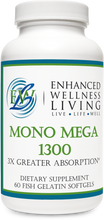 Load image into Gallery viewer, Mono Mega 1300 features natural enzymatically enhanced MaxSimil monoglyceride fish oil that has three times greater EPS/DHA absorption rate than an equivalent dose of ethyl ever fish oil.  Mono Mega supports cardiovascular health, mental health functioning, and healthy glucose and insulin levels.