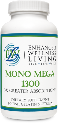 Mono Mega 1300 features natural enzymatically enhanced MaxSimil monoglyceride fish oil that has three times greater EPS/DHA absorption rate than an equivalent dose of ethyl ever fish oil.  Mono Mega supports cardiovascular health, mental health functioning, and healthy glucose and insulin levels.