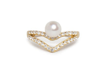 Double V Pearl Pinky Ring