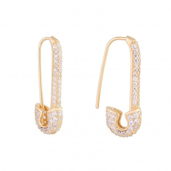 CZ Safety Pin Earring