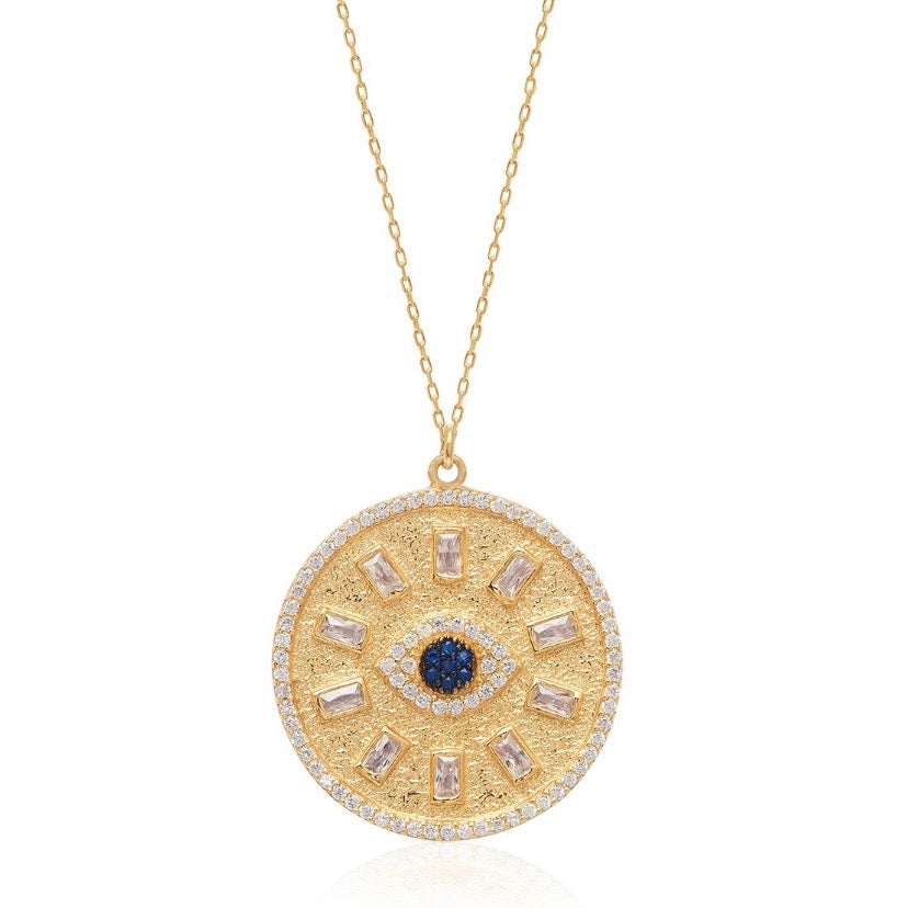 Evil Eye Baguette Coin Necklace