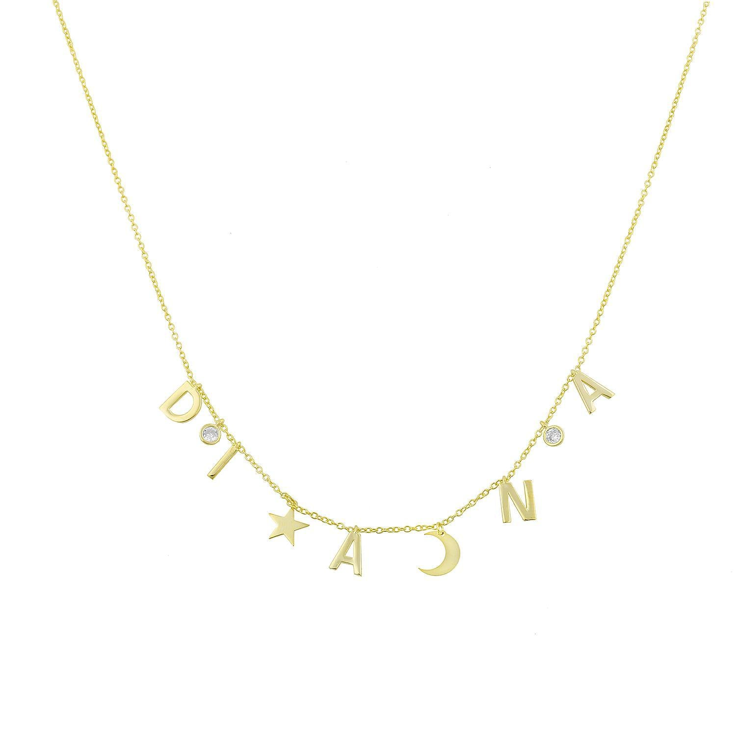 CZ Stone Celestial Name Necklace