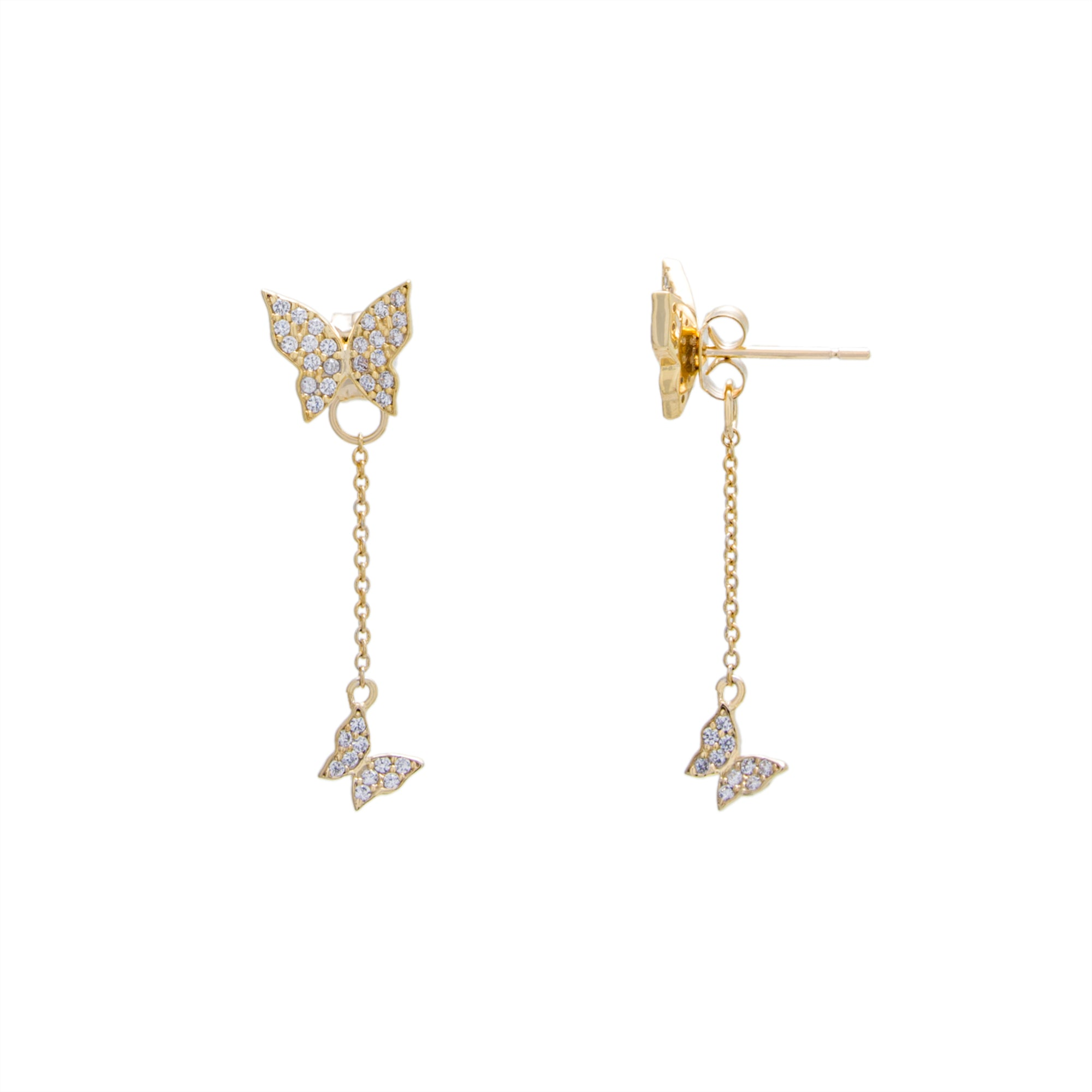 Double Butterfly Chain Earring