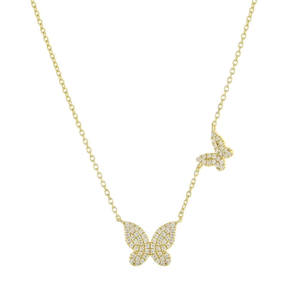Double CZ Butterfly Necklace