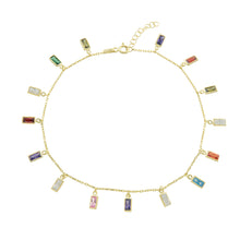 Multi Color Baguette Anklet