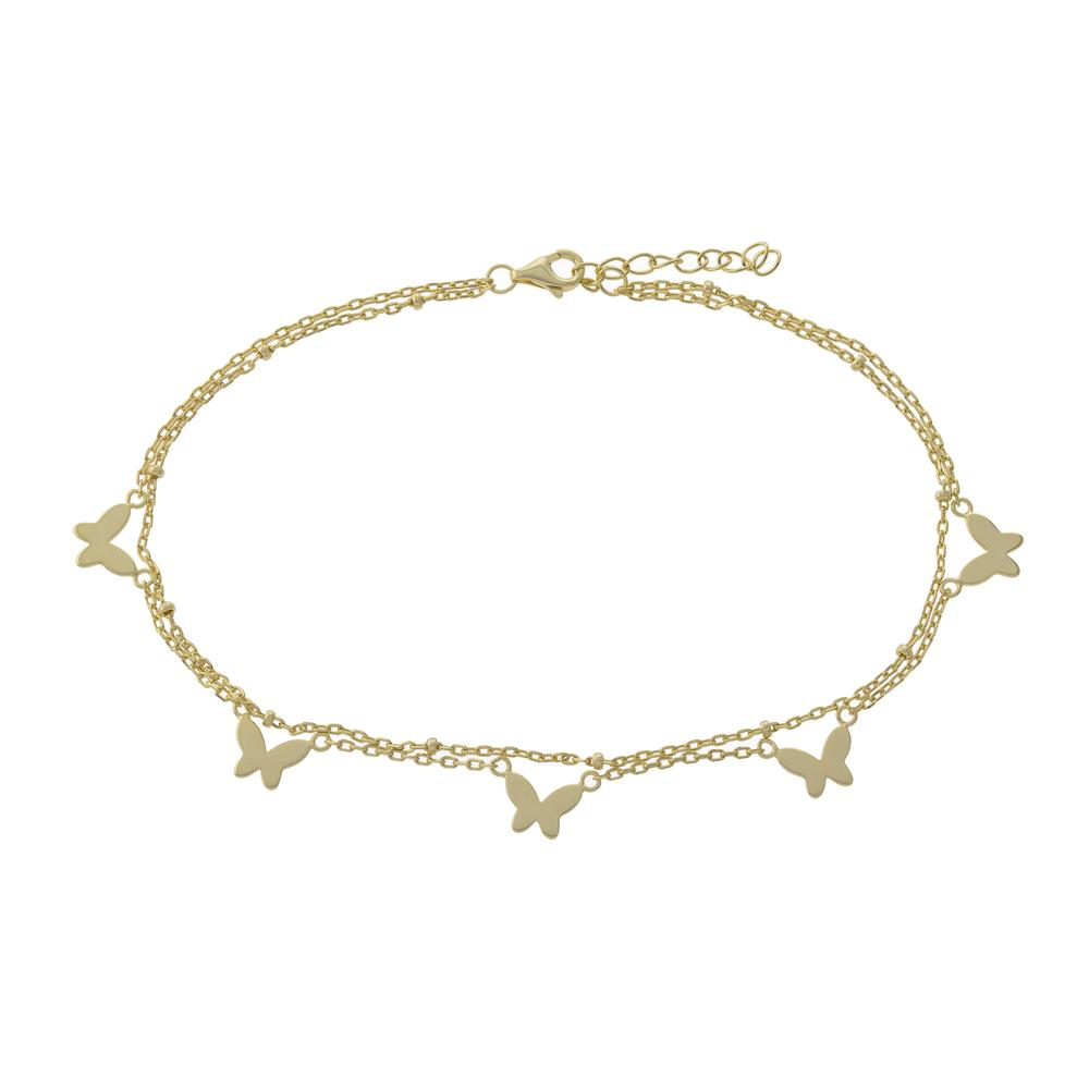 Double Row Bfly Drop Anklet