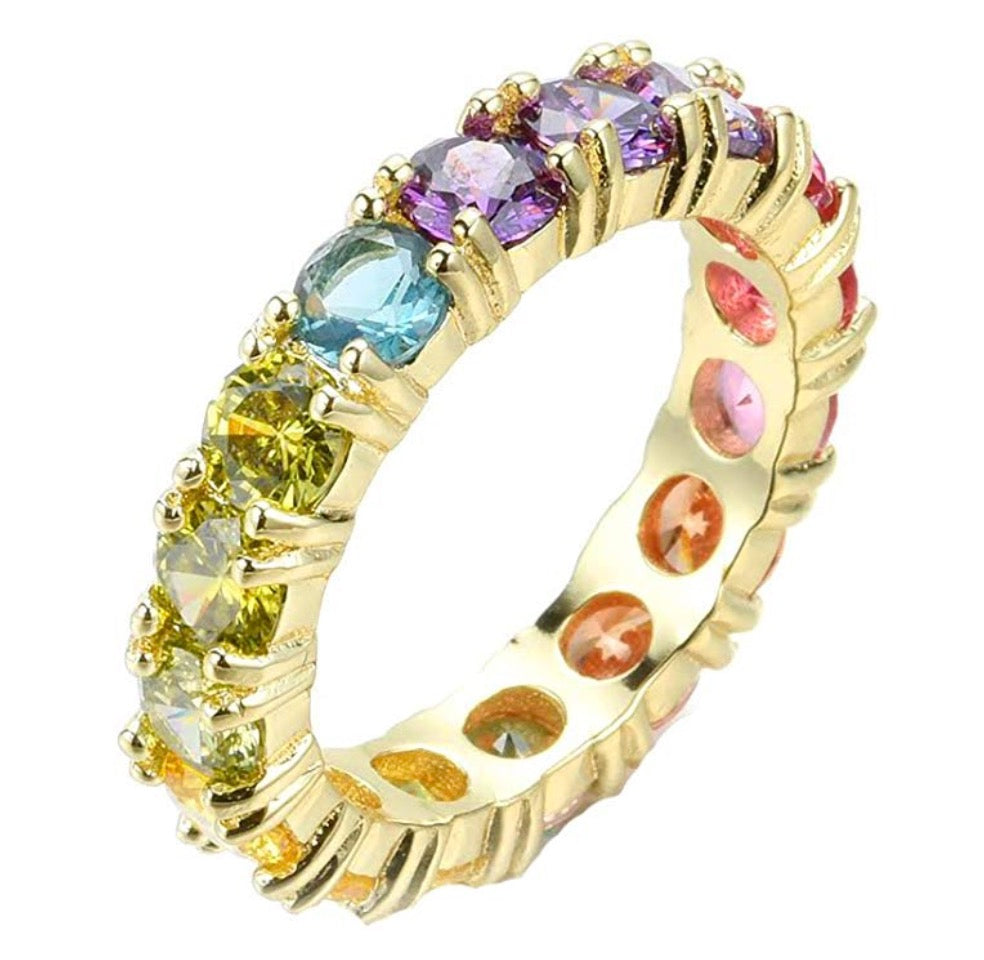 Round Rainbow Eternity Band