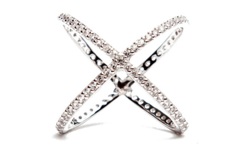 Criss Cross Ring - White Gold