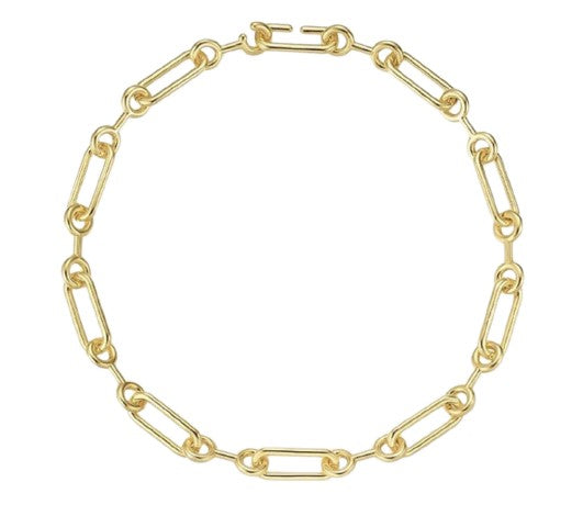 Double Circle Oval Link Necklace