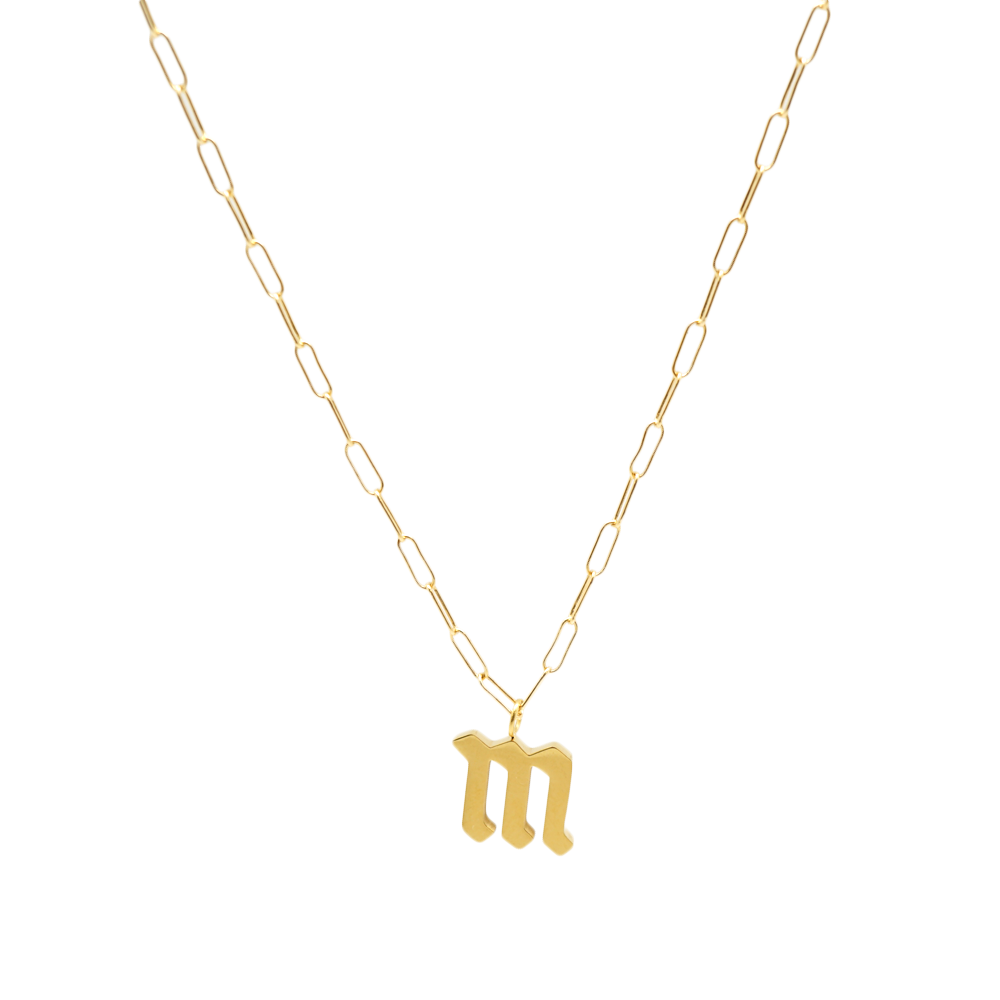 Gothic Initial Link Necklace