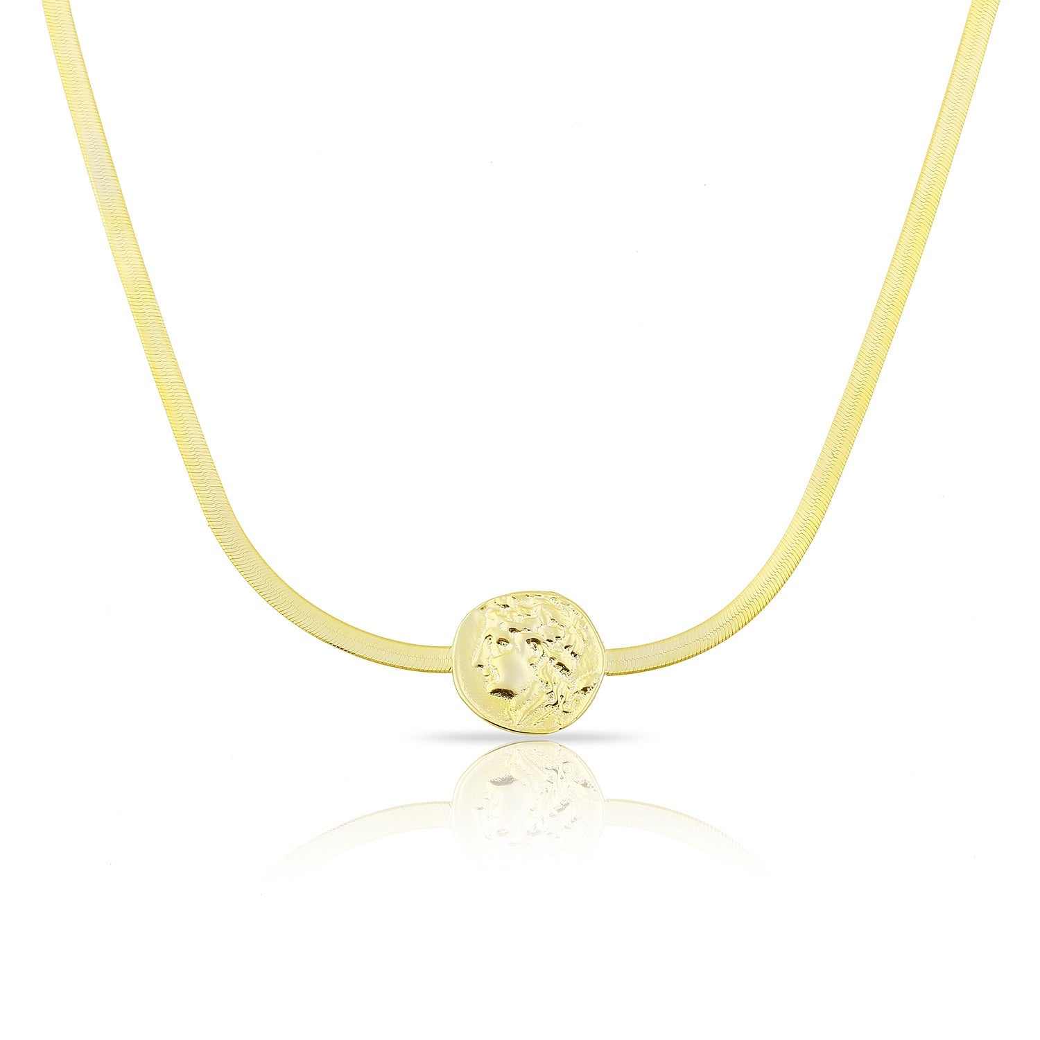 Gold Coin Herringbone Necklace