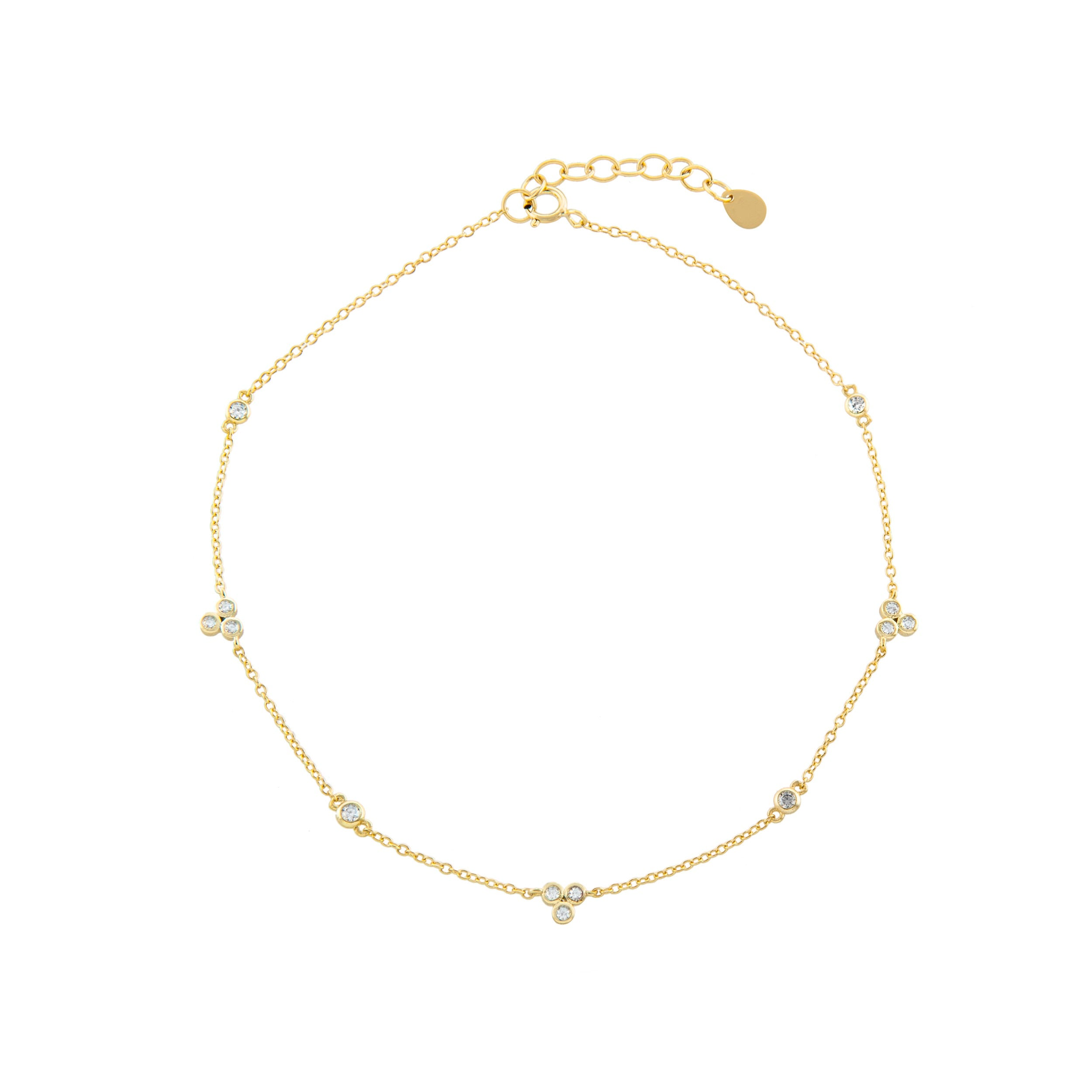 Triple Stone Anklet
