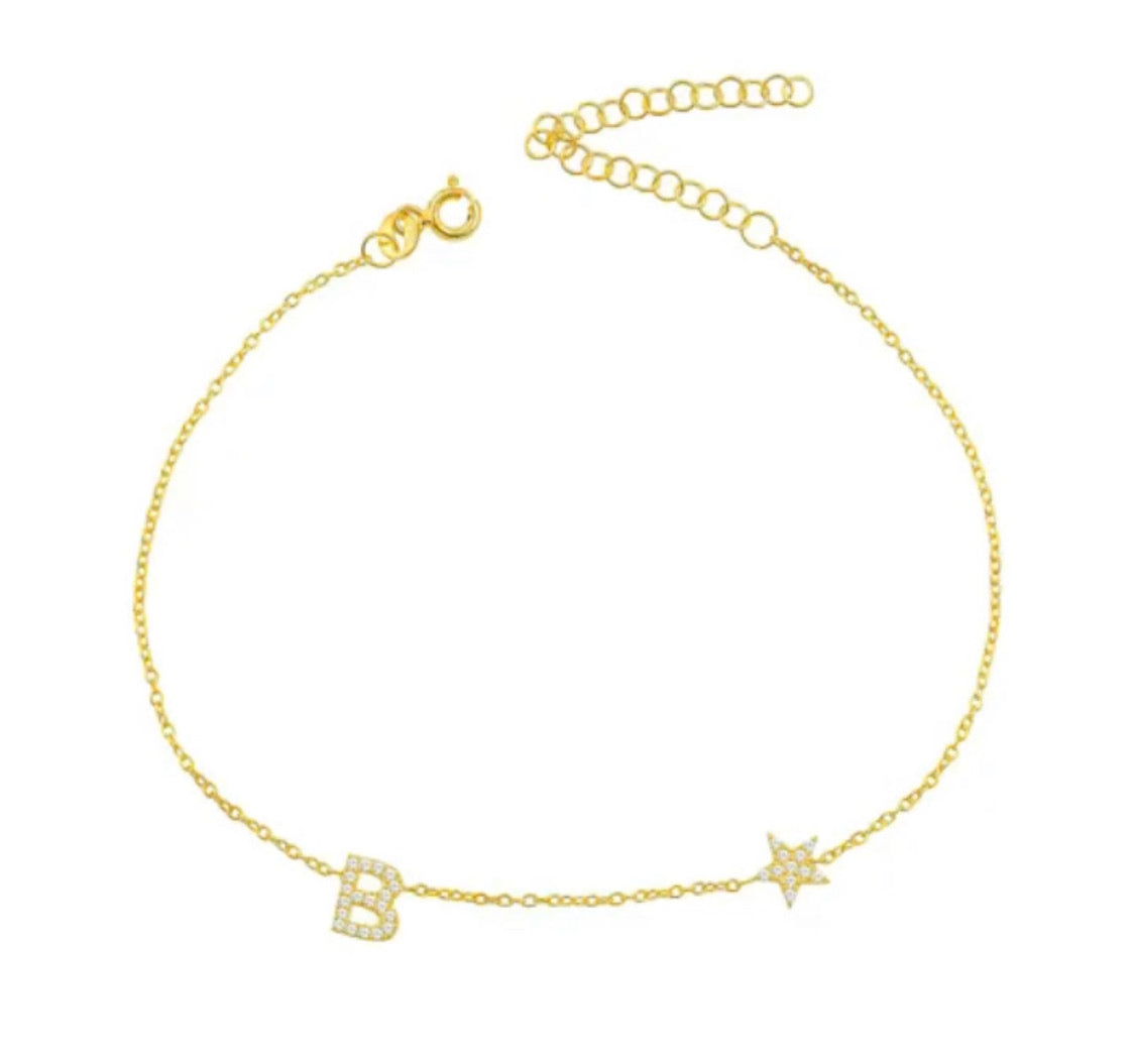 Initial Star Anklet
