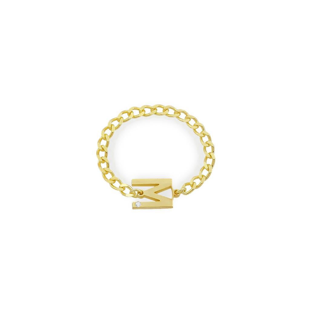 Initial Stone Chain Ring