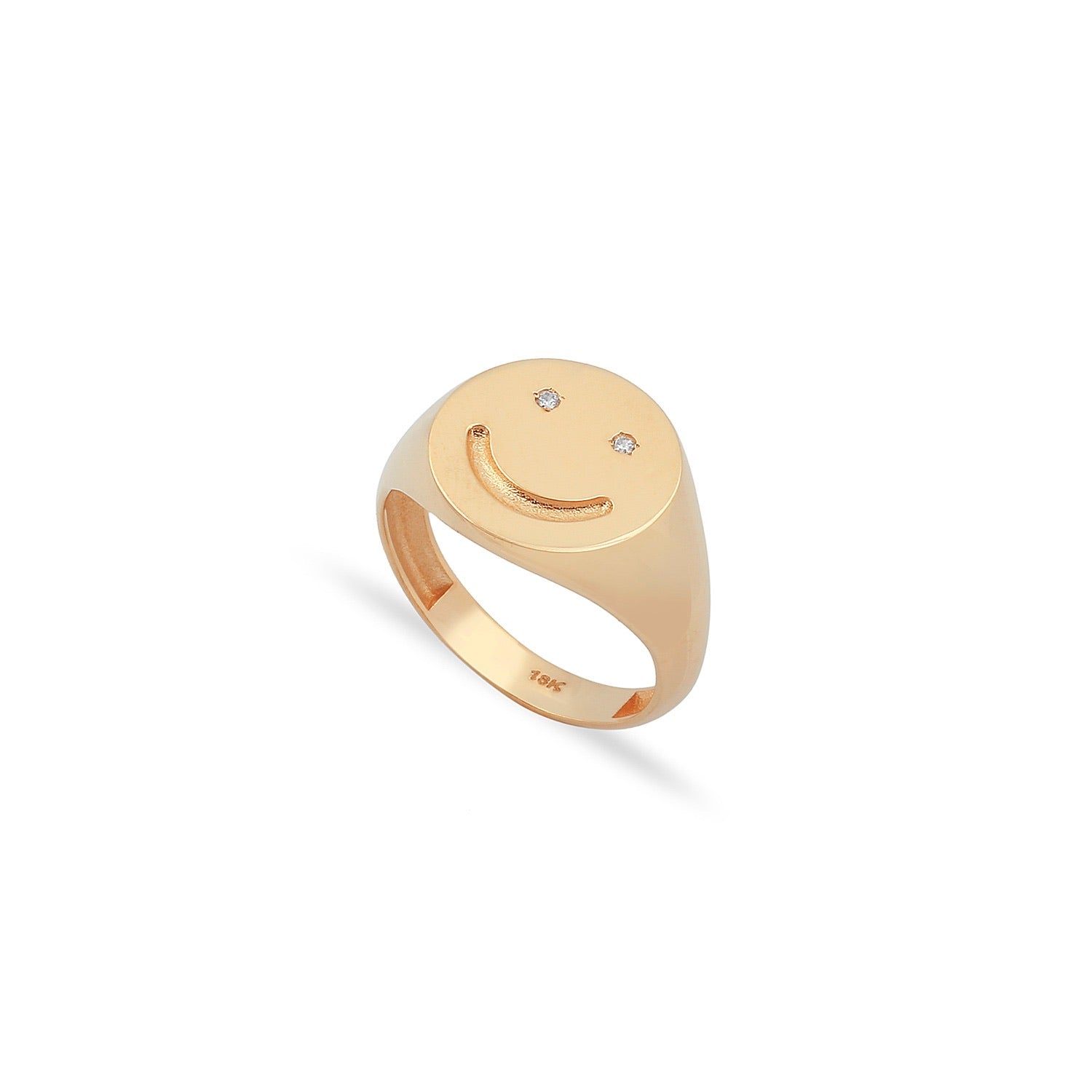 18K Diamond Smiley Ring