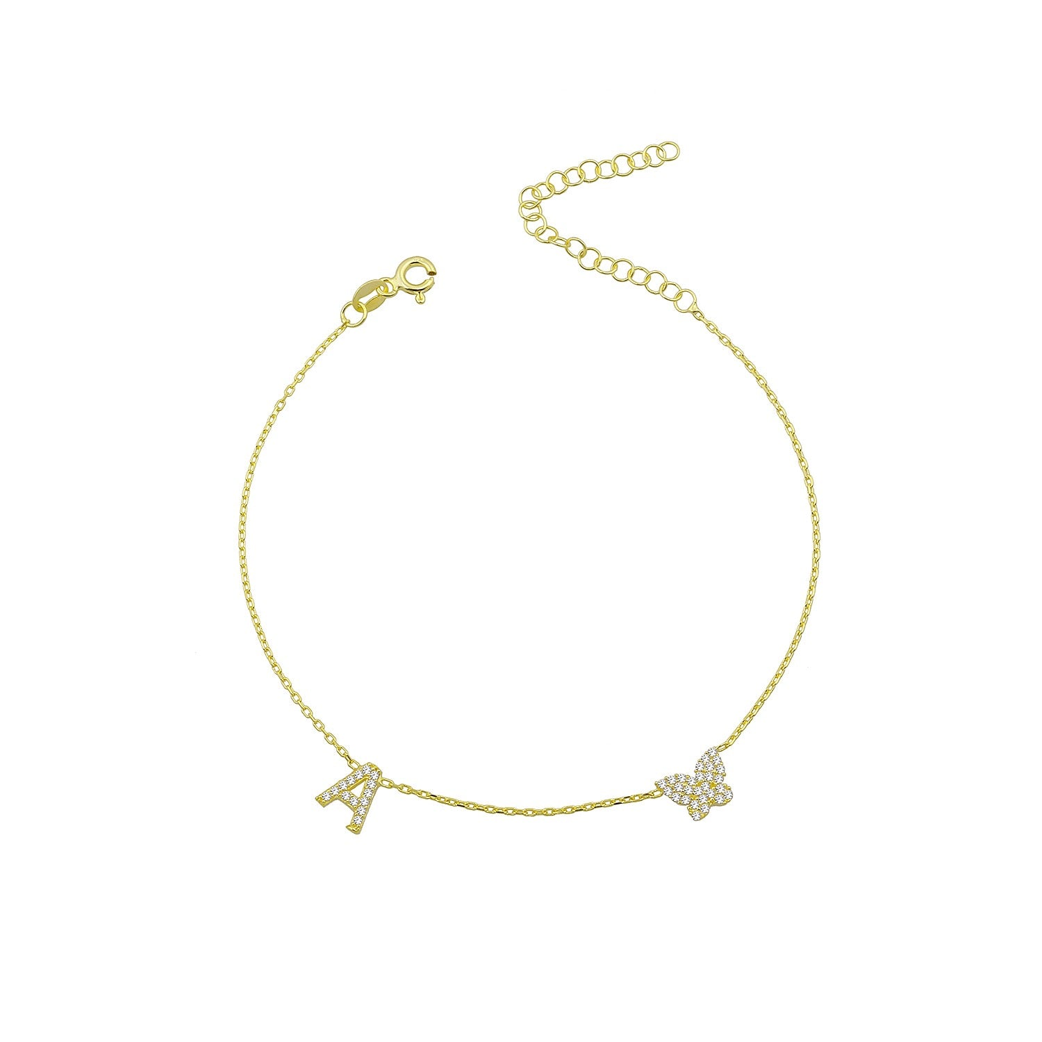Initial Butterfly Anklet