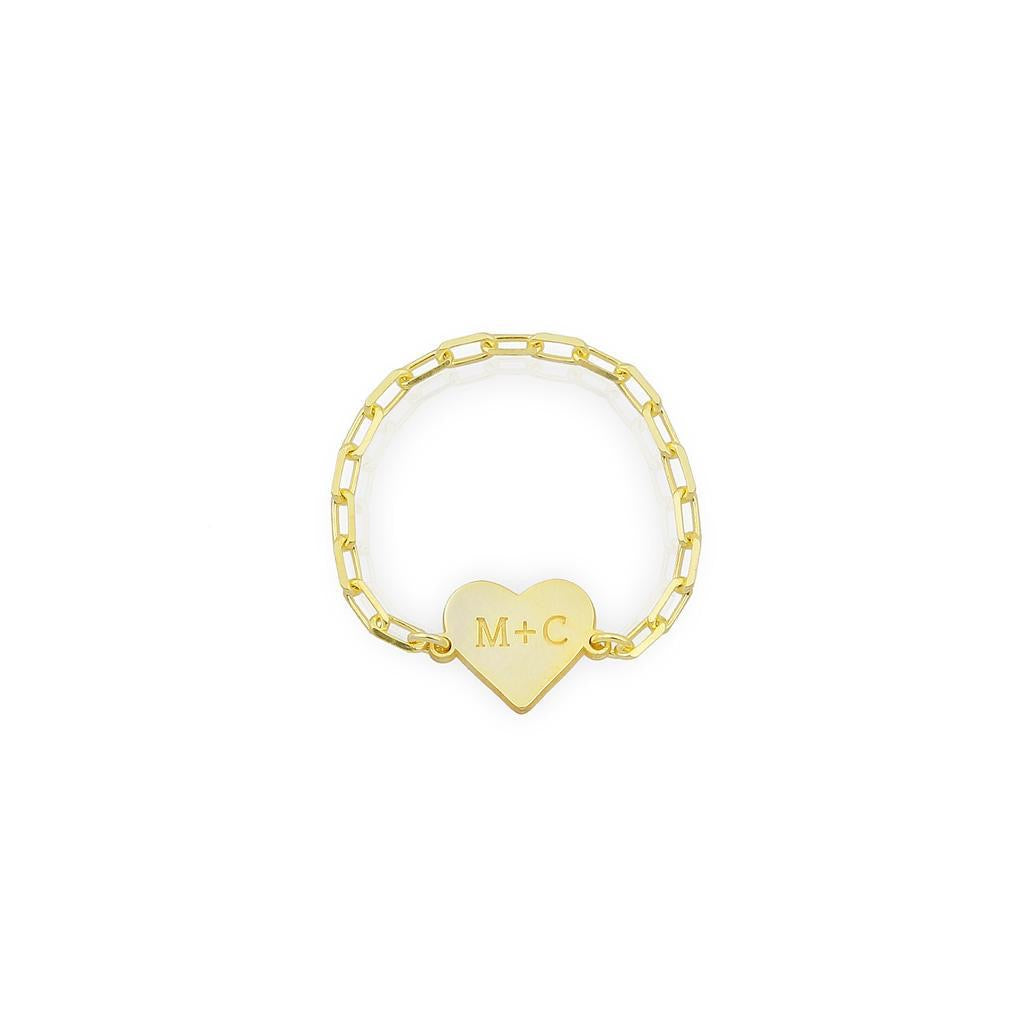 Initial + Initial Heart Chain Ring