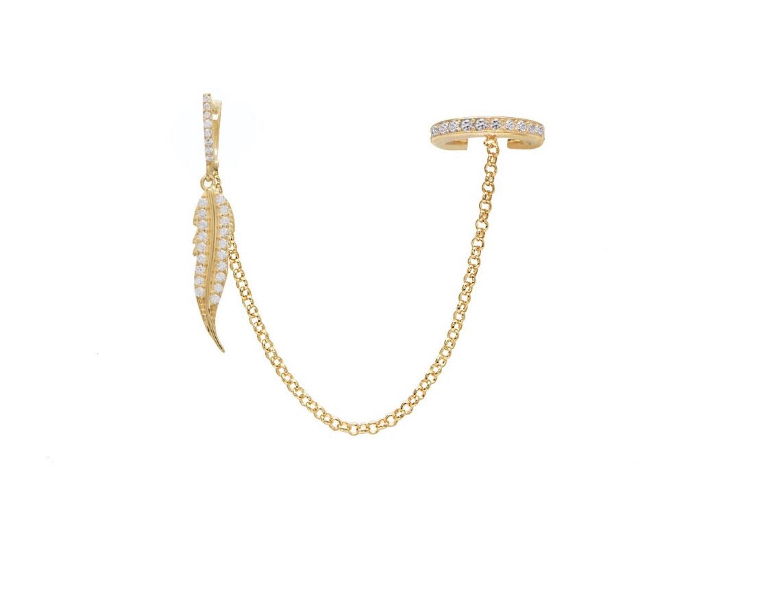 Cuff Feather Chain Earring
