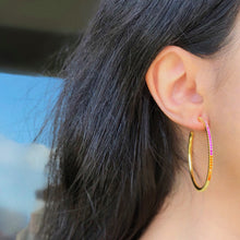 Gold Stone Hoops