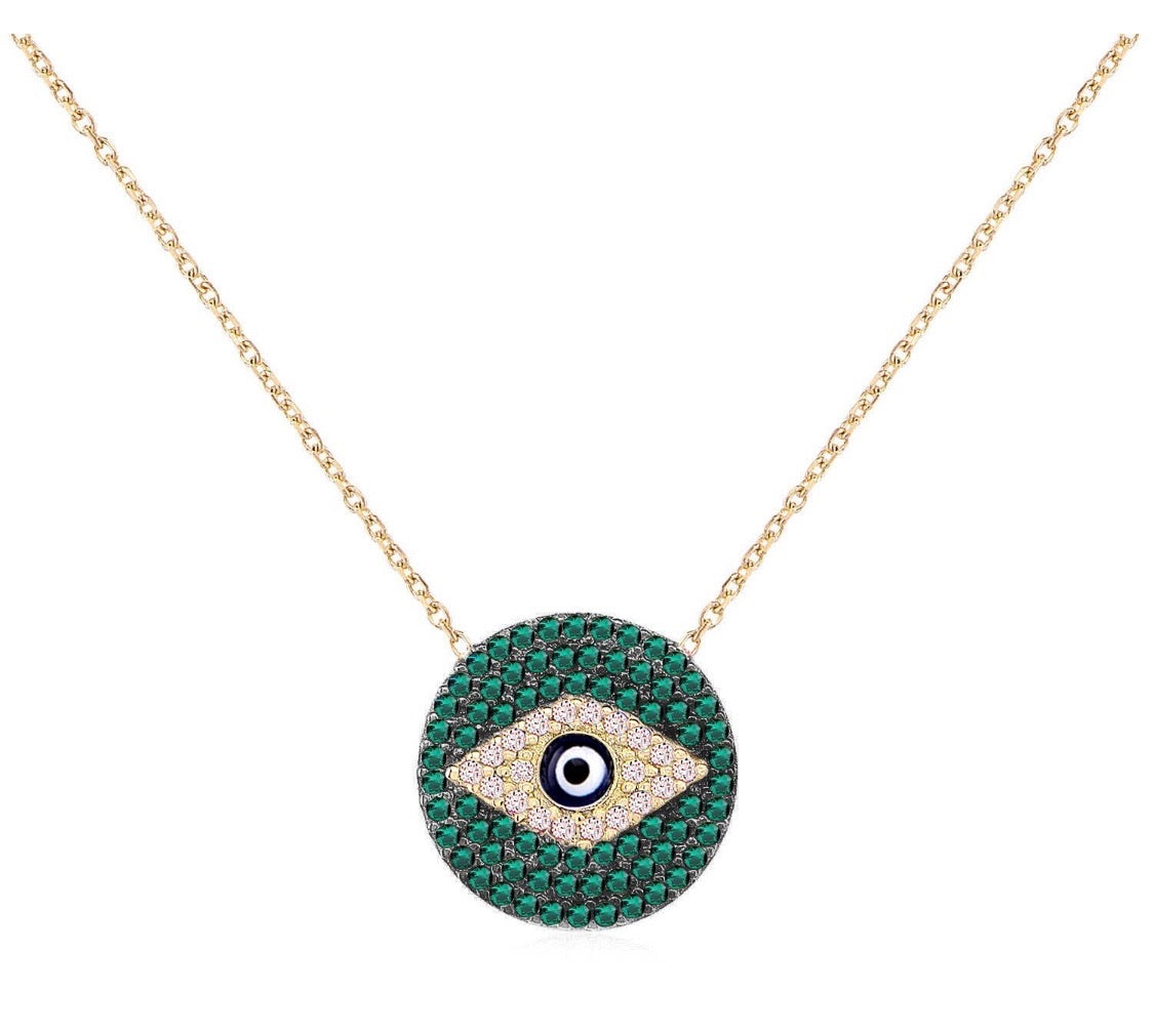 Emerald Evil Eye Necklace