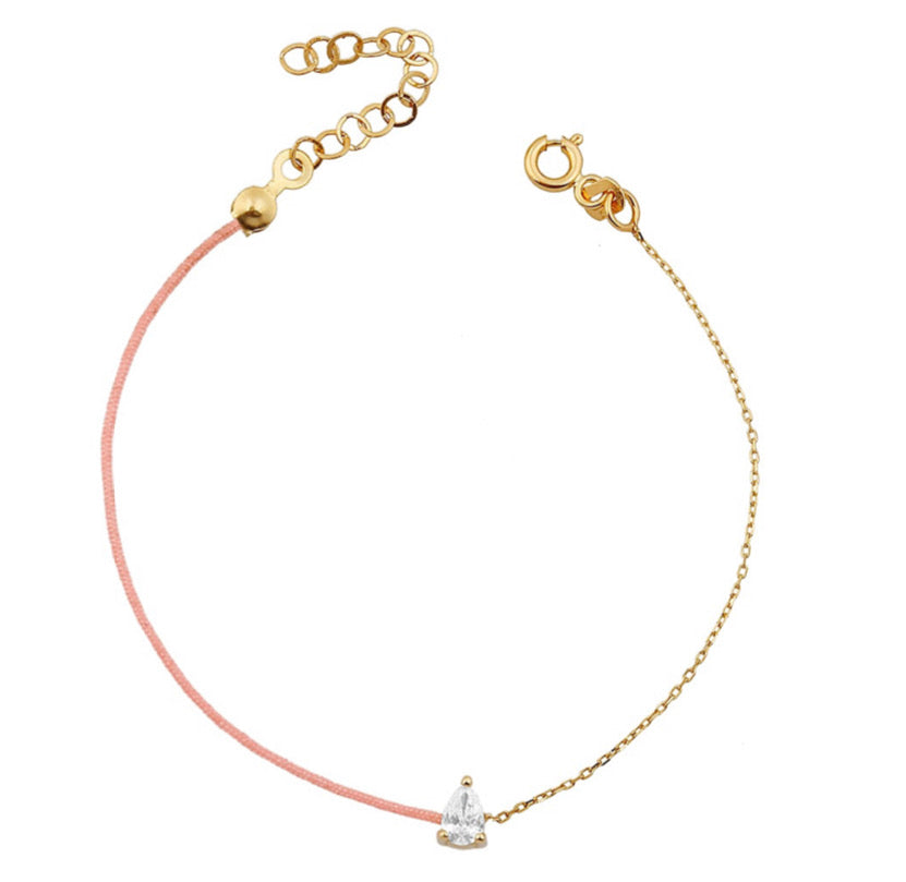 Diamond Pink Silk Bracelet