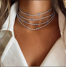 Layered Evil Eye Tennis Choker