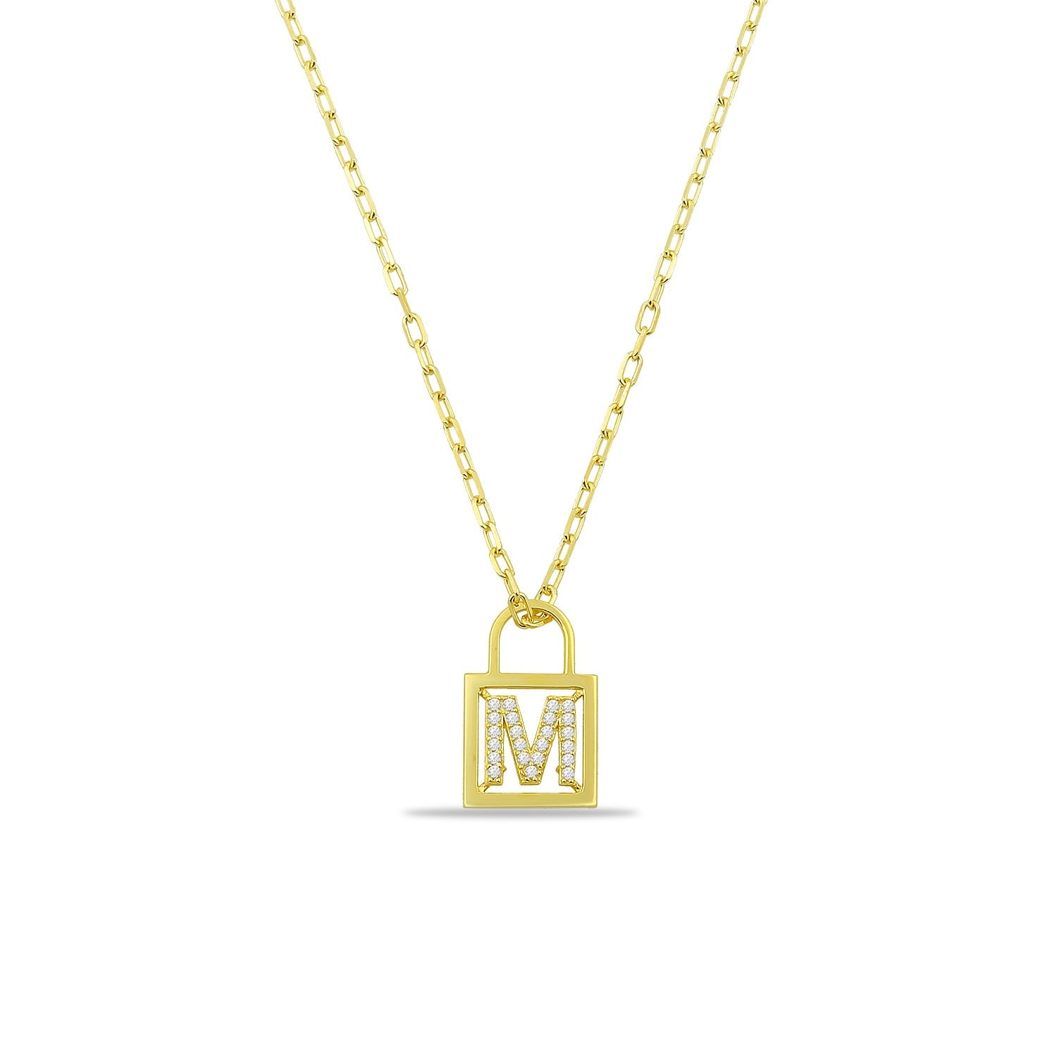 Initial CZ Lock Necklace