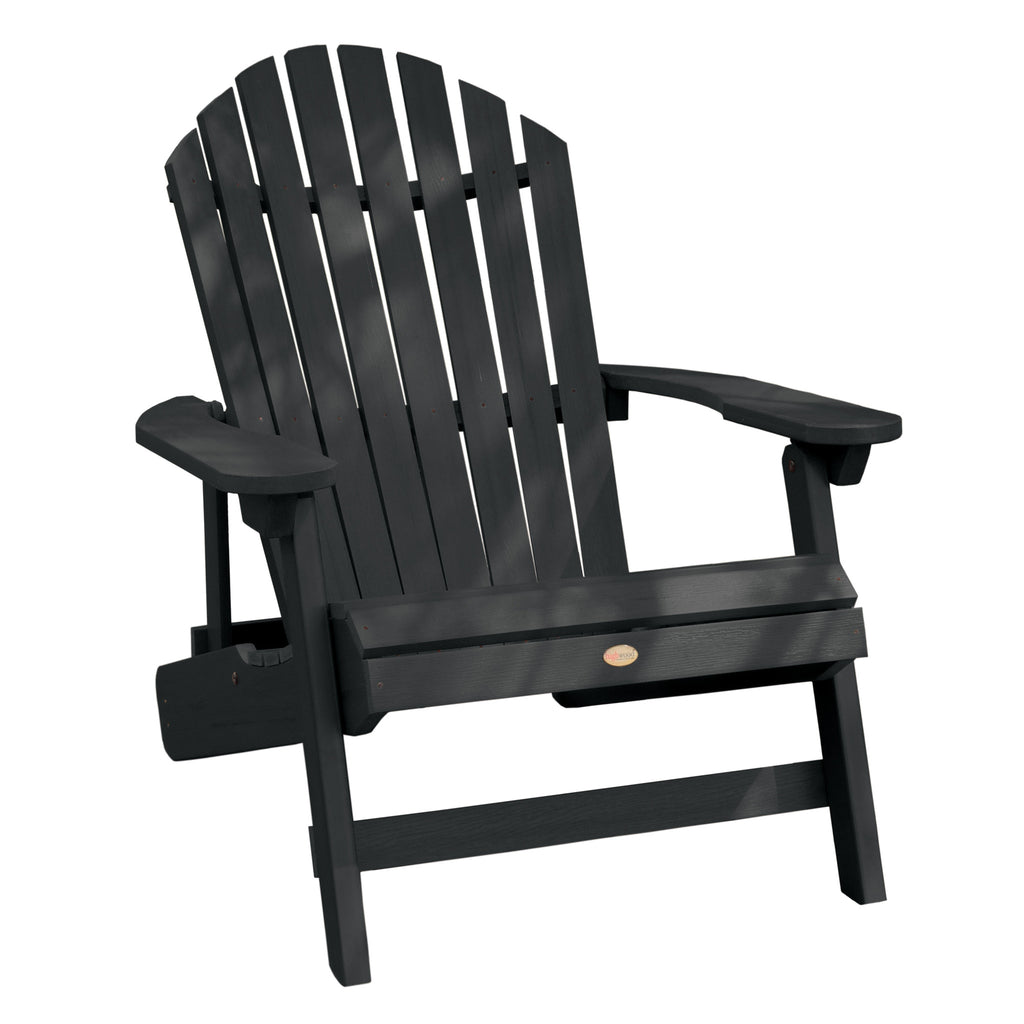 Highwood® KING Hamilton Folding & Reclining Adirondack Chair - Black
