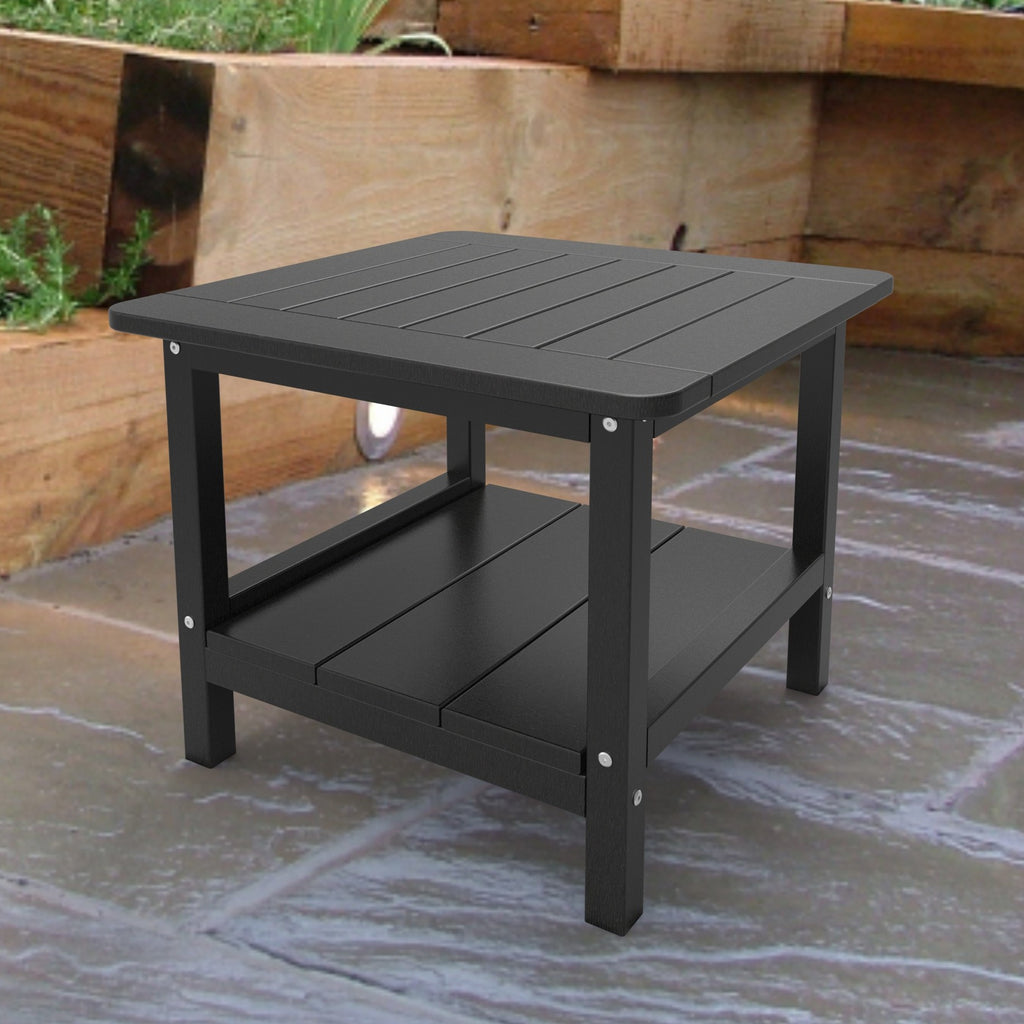 Malibu Outdoor Living Square End Table - Black