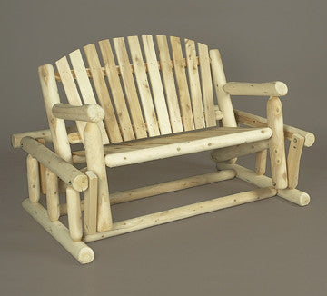 Rustic Natural Cedar Adirondack Log Style Glider - Natural
