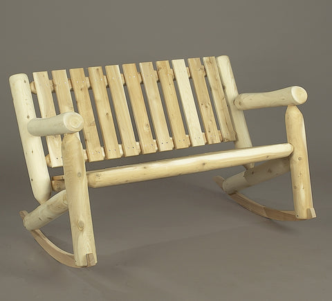 Rustic Natural Cedar Adirondack Double Rocker - Natural