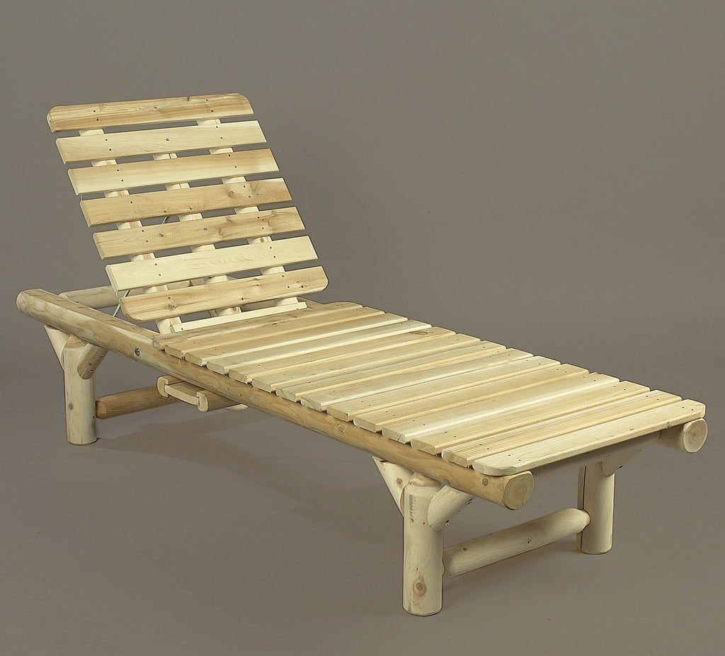 Rustic natural cedar adirondack chaise lounge natural for Adirondack chaise