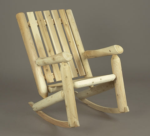 Rustic Natural Cedar Adirondack High Back Rocker - Natural