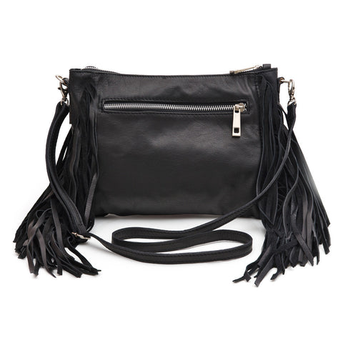 Amanda Leather Tassel Clutch (Black)
