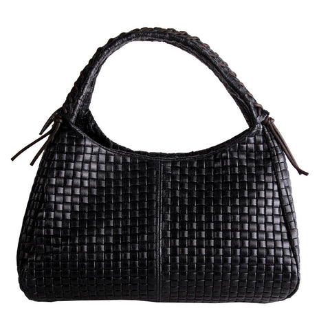 Helen Woven Look Shoulder Bag (Black)